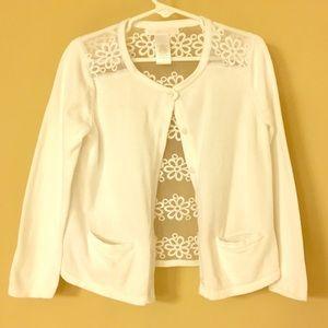 Janie & Jack Girl's White Cardigan w/embroidery